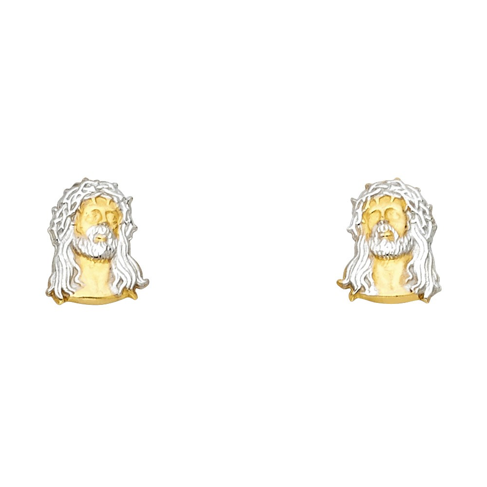 14k 2t Jesus Face Post Earrings Oropalace
