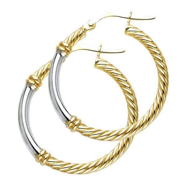 14k 2t 2 5mm Rope Hoop Earrings Oropalace