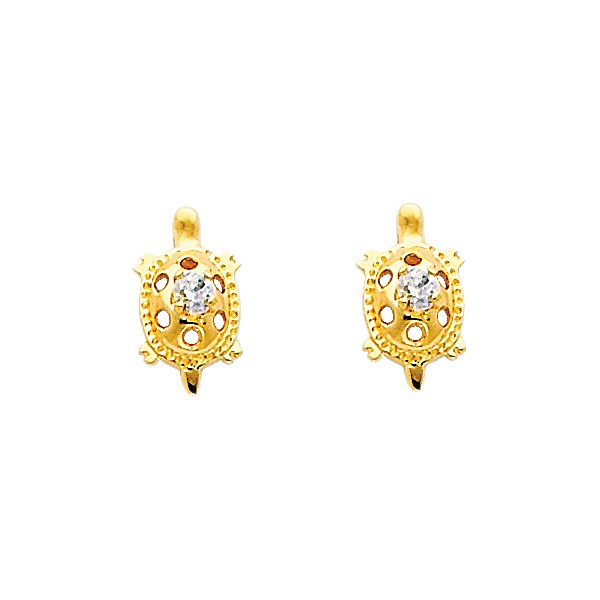 0f73839c7 ... 14k Yellow Turtle CZ Stud Earrings – Screw Back. st-0270